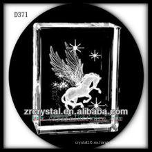 Bloque de cristal láser K9 3D con Pegaso en el interior