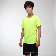 Летом флуоресцентный зеленый дышащий быстросохнущие футболка