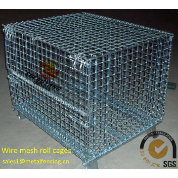 China workshop used industrial transport baskets steel wire welded visuality grids electronic galvanized wire mesh roll cages