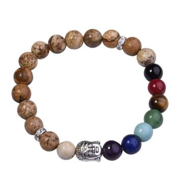 Picture Jasper Bracelet Buddha 7 Chakra Gemstone Alloy Beads Jewelry
