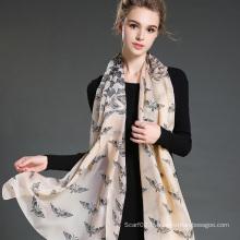 Écharpe en mousseline de soie en polyester à imprimé papillon 30 D