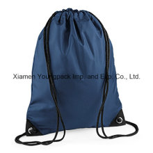 Personalized Navy Blue 210d Nylon Sports Gym Sack Drawstring Bag