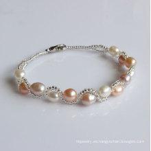 Pulsera cultivada de agua dulce dulce de la perla (EB1525-1)