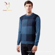 Мода Мужская Интарсия Кашемировый Пуловер Свитер Трикотажа Пуловер Свитер