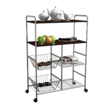 Metal Adjustable Hotel Dining Cart with Basket Rack (TR603090C4R)