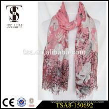 wholesale blooming big flower patter voile scarf 100 Polyester Magic Scarf