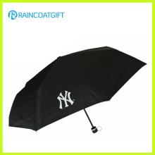 Poliéster impreso logotipo de encargo barato que hace publicidad del paraguas plegable 3