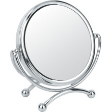 Round 2 Sides Metal Chrome Makeup Mirror