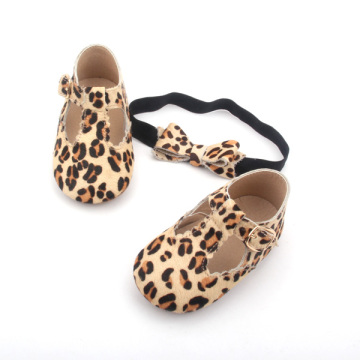 Mo Hair T Bar leopardo bebé zapatos casuales