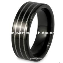 Black Men's Tungsten Carbide Lines Comfort Fit Ring