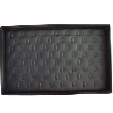 Bandeja de la caja de exhibición del anillo de la joyería cubierto negro de la PU