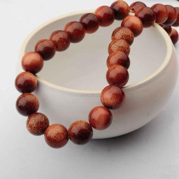 14MM Loose natural Goldstone Crystal Round Beads for Making jewelry