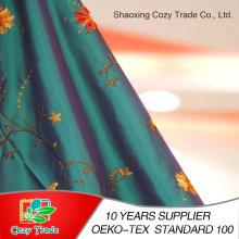 100% poliéster tafetán, nailon + tejido de tafetán de poliéster con bordado de flores de tela para cortina cojín mantel y otra decoración