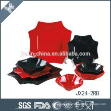 JX24-2RB 24pcs porcelain Eight Side Shape dinner set, plate set, red and black mix color set