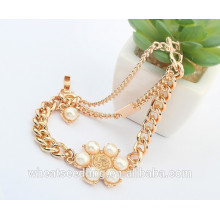 Gold Charm Pearl Bracelet Women Stainless Steel Chain Jewelry