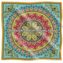 Bleu Royaume-Uni royal paisley 100% soie écharpe marque 90x90cm