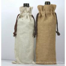 Burlap saco de linho bolsa de vinho com corda