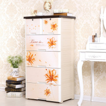 Flower Printed Plastic Drawer Storage Cabinet (NA-5848)