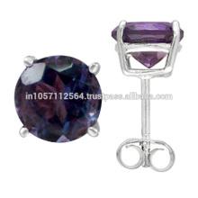 Piedra preciosa Amethyst púrpura hermosa y 925 pendientes del perno prisionero de la plata esterlina que casan la joyería del desgaste