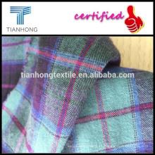 tela 100% algodón la raspa de arenque tela cruzada tela/raspa de arenque tela cruzada camisa a cuadros tejidos/cepillado Sarga camisa a cuadros