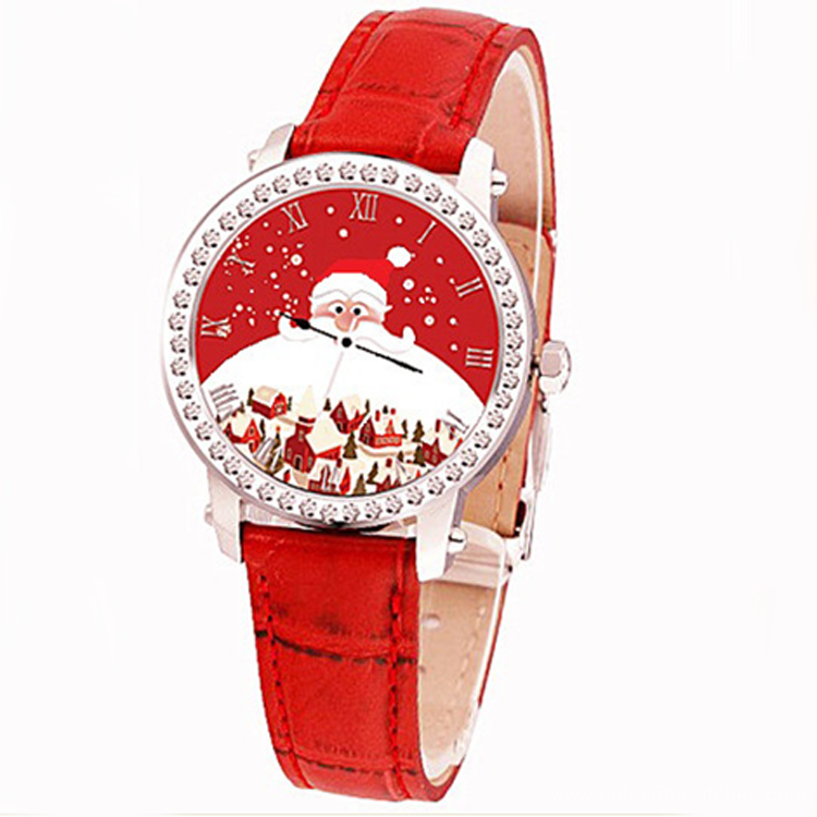 Leather Strap 3-5ATM Waterproof Christmas Quartz Watch
