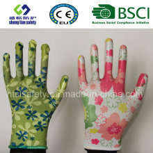 Guantes de seguridad Nitrile Coated Printed Garden Gloves