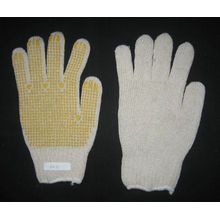7g String Knitted Yellow PVC Single Dotted Glove
