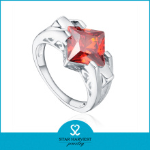 Hot Semi-Precious Coral Gem Stones Ring