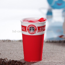 Taza de café de viaje taza de café con tapa de plástico, taza de cerámica con envoltura de silicona, Starbucks taza