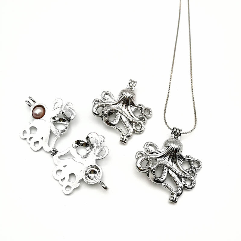 Silver Pearl Cage Octopus Pendants