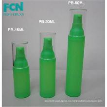 Calidad botella de la bomba de cosmética de envasado botella airless cuidado de la piel verde