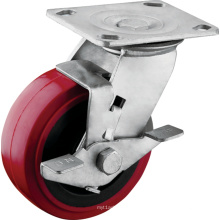 Rodízios resistentes da roda do poliuretano do freio do passo