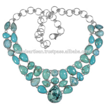 Tibetan Turquoise And Multi Gemstone 925 Sterling Silver Necklace