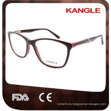 2017 Lady latest design stripes pattern temple acetate optical glasses & eyeglasses eyewear