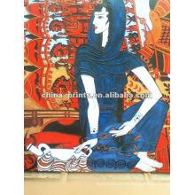 Alta qualidade India menina pintura a óleo abstrata para decoração