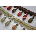 Stock Closeout wooden fringe, curtain fringe, curtain tassel fringe for decoration