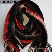 Winter Women Different Colors Long Thick Stripe Knitted Wool Scarf