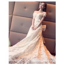 2017 China designer Custom Made Handmade Beaded Off-shoulder Long Train Wedding Dress Gowns