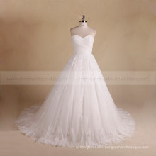 Simple sweet heart pleated lace croset back wedding ball gown with a long train