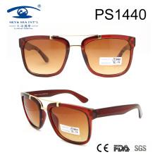 2017 Квадратная форма блестящие коричневые солнцезащитные очки для ПК (PS1440)