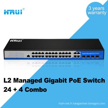Puissance 400w SNMP 24 ports POE avec 4 ports commutateur réseau gigabit 250 mètres