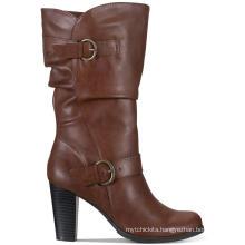 Winter New PU Metal Zipper Women's Shoes Mid-heeled High-top Knight Boots