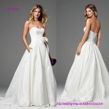 Robe de mariée sans bretelles a-line avec nœud