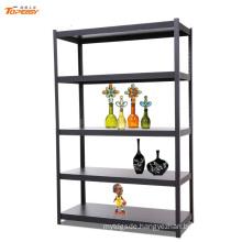 Home use light duty 5 tier black steel storage rack