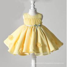 Robes de fille de fleur en organza jaune