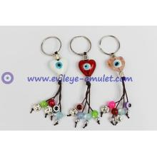 Evil eye smile heart-shaped key chain and charm