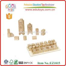 EZ1015 de buena calidad 20 piezas forma geométrica aprender bloques de madera para niños