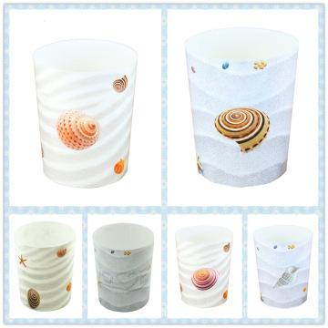 Морские раковины Дизайн Круглый пластиковый мусорный ящик (FF-5224)