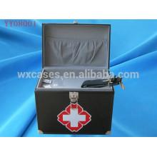 quadratischen Ecke Aluminiumkasten erste-Hilfe-Kit mit 2 Farben