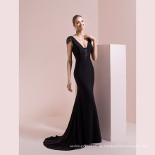Schwarzes kurzes Spitze-Hülsen-Satin-Nixe-Abend-Kleid